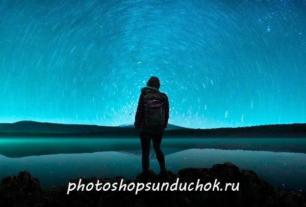 Как сделать круговорот звёзд в фотошопе